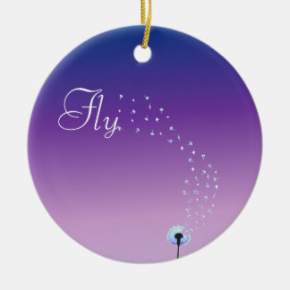 Fly little dandelion seed - Purple Christmas Ornament