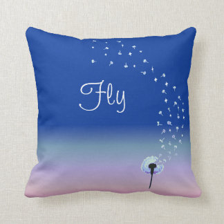Fly Little Dandelion Seed - Royal Blue Cushion