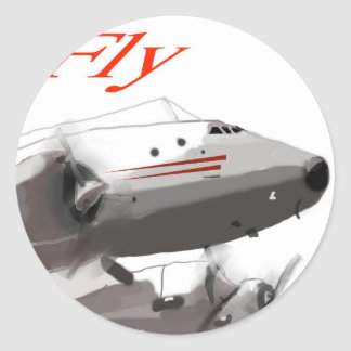 Fly  Lockheed Constellation Round Sticker