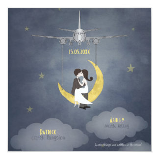 Fly Me to The Moon 2 13 Cm X 13 Cm Square Invitation Card