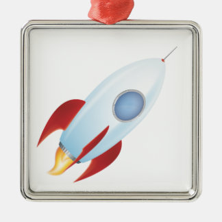Fly me to the moon - Rocket Design Silver-Colored Square Decoration