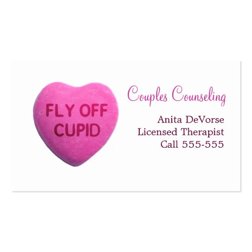 Fly Off Cupid Pink Candy Heart Business Card Templates