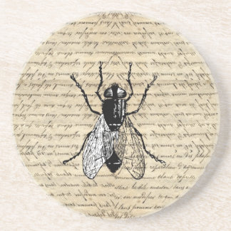 Fly on a vintage background coaster