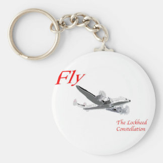Fly the Lockheed Constellation Basic Round Button Key Ring