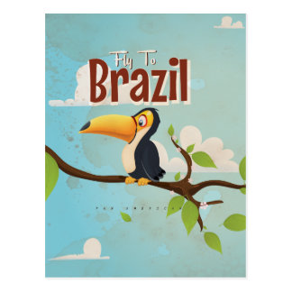 Fly to Brazil vintage Vacation Poster Post Card