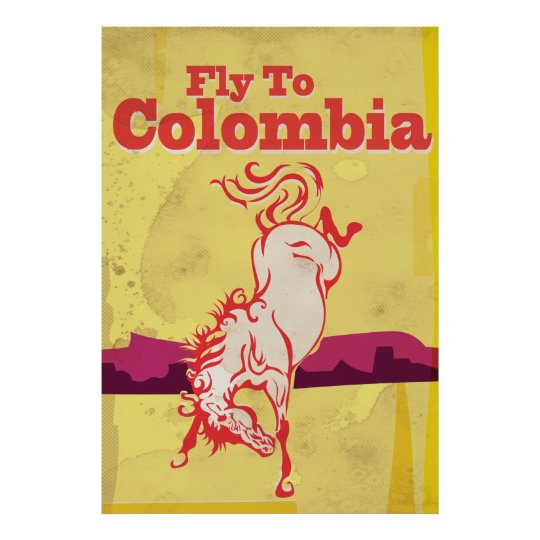 Fly To Colombia vintage travel poster