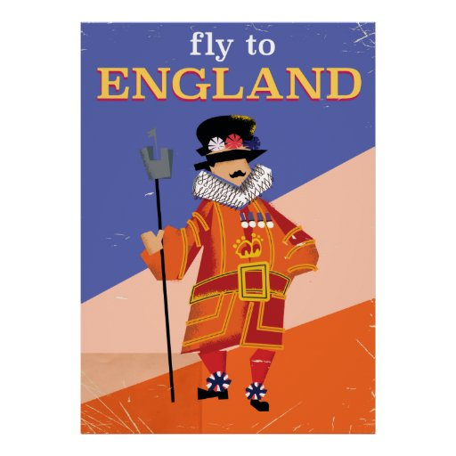 Fly To England vintage travel poster