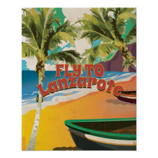 Fly to Lanzarote Vintage Poster