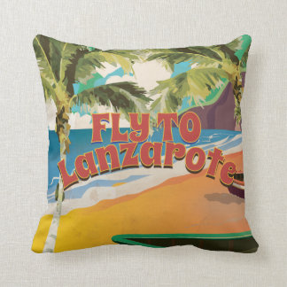 Fly to Lanzarote Vintage Poster Throw Pillow