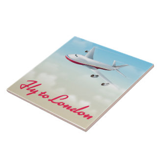 Fly To London Plane poster Large Square Tile