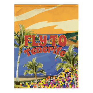 Fly To Tenerife Vintage Travel Poster Postcard