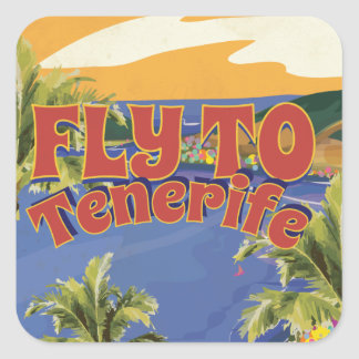 Fly To Tenerife Vintage Travel Poster Square Sticker