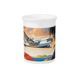 Fly to the caribbean vintage poster 50s pitcher