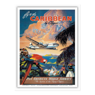 Fly to the caribbean vintage poster 50s postcard