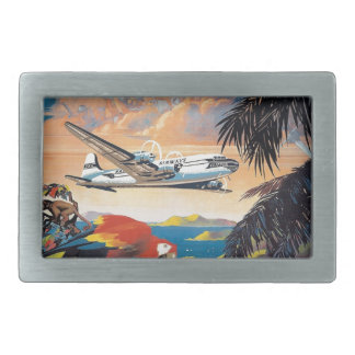 Fly to the caribbean vintage poster 50s rectangular belt buckle