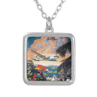 Fly to the caribbean vintage poster 50s silver plated necklace