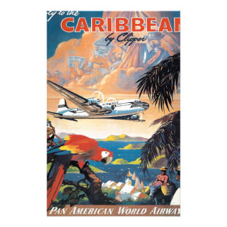 Fly to the caribbean vintage poster 50s stationery