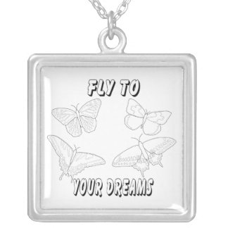 Fly To Your Dreams Square Pendant Necklace