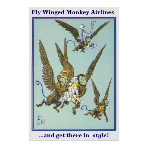 Fly Winged Monkey Airlines Poster