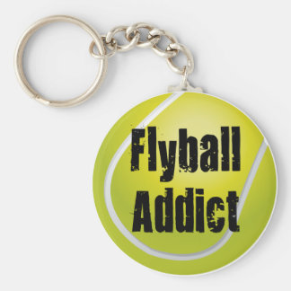 Flyball Addict Basic Round Button Key Ring