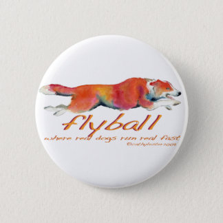 Flyball real dogs 6 cm round badge