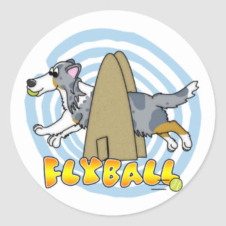 Flyball Sheltie Classic Round Sticker