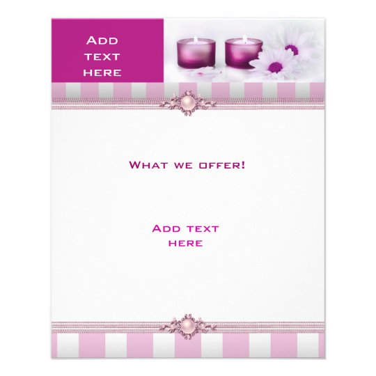 Flyer Beauty Salon Spa Pink White StripeTemplate