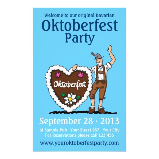 Flyer Oktoberfest Party Lederhosen Gingerbread