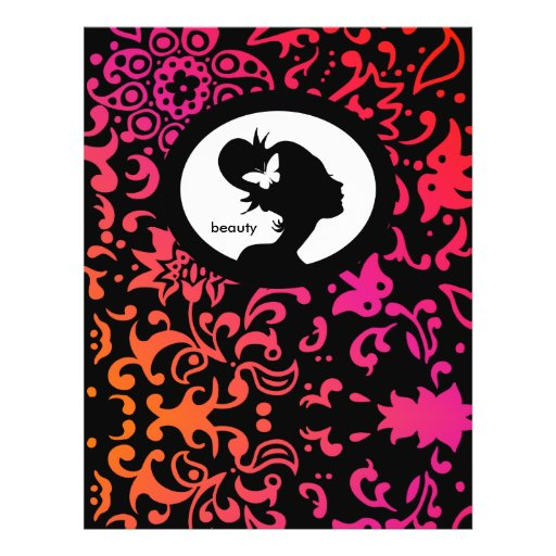 Flyer Salon Butterfly Woman Silhouette Colorful