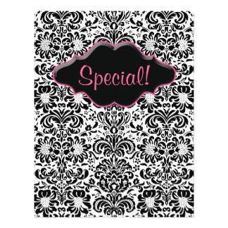 Flyer Salon Floral Damask Black White Pink