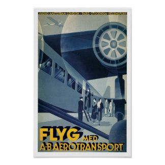 Flyg Med A-B Aerotransport Poster