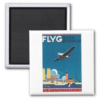 Flyg Over Stockholm, AB Aerotransport Square Magnet