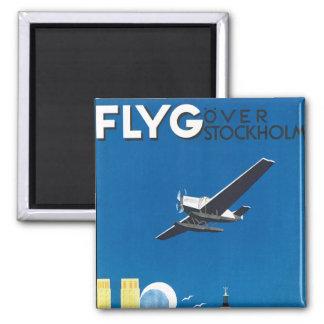 Flyg Over Stockholm Square Magnet