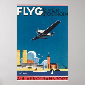 FlyG Over Stockholm Vintage Travel Poster