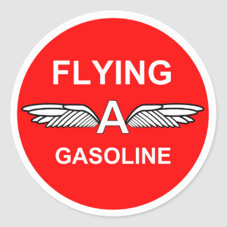 Flying A Gasoline Round Sticker