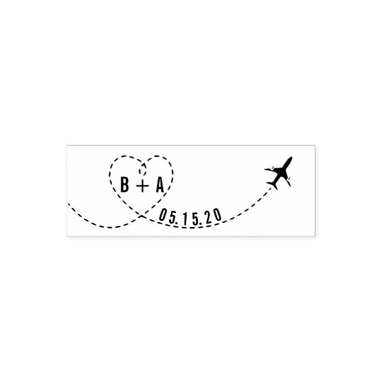 Flying Aeroplane Initials Wedding Date Self-inking Stamp