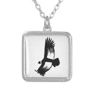 Flying Andean Condor Square Pendant Necklace
