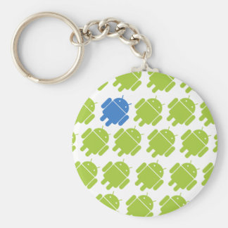 Flying Android Blue Basic Round Button Key Ring