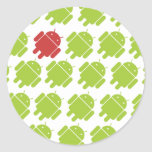 Flying Android Red Round Sticker