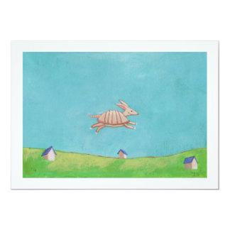 """Flying Armadillo original painting fun art CUSTOM 5"""" X 7"""" Invitation Card"""