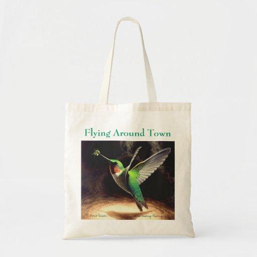 """Flying Around Town"" Hummingbird Tote Bag"