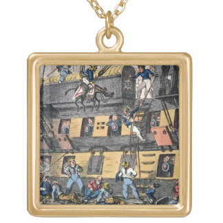 Flying Artillery or A Horse Marine (colour engravi Gold Plated Necklace