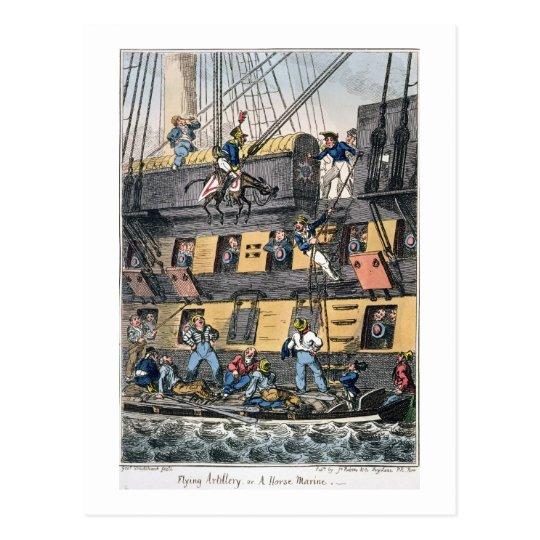 Flying Artillery or A Horse Marine (colour engravi