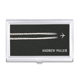 Flying Away/High Altitude Airplane Personalized Business Card Holder