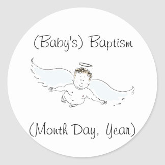Flying Baby Angel Baptism Invitation Round Sticker