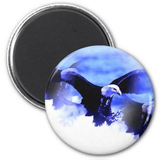 Flying Bald Eagle 6 Cm Round Magnet