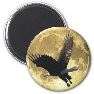 Flying BALD EAGLE & FULL MOON Wildlife Magnet