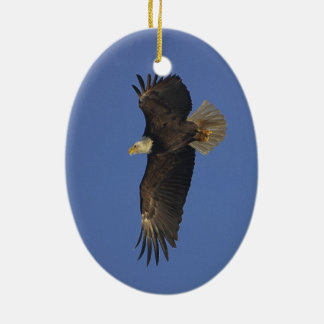 Flying Bald Eagle Wildlife-supporter Art Double-Sided Oval Ceramic Christmas Ornament
