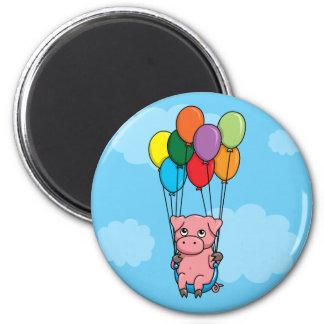 Flying Balloon Pig 6 Cm Round Magnet