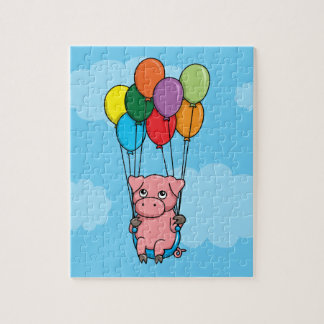 Flying Balloon Pig Jigsaw Puzzle